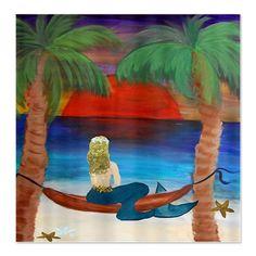 mermaid shower curtain   ... Decor Bathroom > Giant Orange Sunset Hammock mermaid Shower Curtain