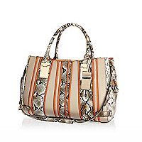 Khaki safari stripe snake print tote bag