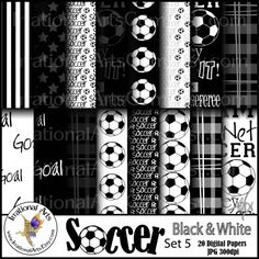 INSTANT DOWNLOAD Soccer set 5 Black & White digital paper 20 jpg files soccer players balls madras plaid and 2 Soccer Title png