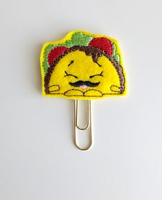 Taco w/ Mustache Felt Paperclip | Bookmark | Paper Clip | Planner Accessories | Feltie | Planner Clip | Kawaii | Taco Tuesday | Mexican Food