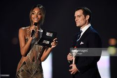 Jourdan Dunn and Henry Cavill present an award at the BRIT Awards 2016 at The O2 Arena on February 24, 2016 in London, England.