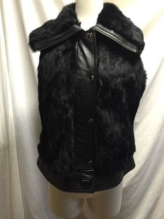 Rabbit Fur Vest Leather Trim Dyed Black Size Medium Womens  SienaStudio   Vest Rabbit Fur d3cceb1f4c2c