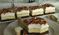 Famózne krémové kocky so šľahačkou Cesto: 6 bielka 6 PL kr. Czech Desserts, Romanian Desserts, Mini Cheesecakes, Sweet Recipes, Cake Recipes, Dessert Recipes, Kolaci I Torte, Czech Recipes, Cake Bars