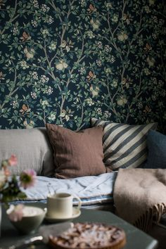 Beautifully coloured in green with hints of rusty red, our Ingrid Marie wallpaper depicts an intricate apple tree print set against a midnight blue background. Interior Wallpaper, Cool Wallpaper, Pattern Wallpaper, Dream Home Design, My Dream Home, House Design, House By The Sea, Cottage Interiors, Tree Print