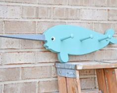 Childs Room Decor Narwhal Whale Coat Rack Whale decor