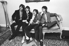 19 May 1967 --- The Beatles, press launch of new album, 'Sgt. Pepper's Lonely Hearts Club Band' their eighth studio album, in the drawing room at 24 Chapel Street, Belgravia London, 19th May 1967. George Harrison, Ringo Starr, John Lennon, Paul McCartney. --- Image © The People/Mirrorpix/Corbis