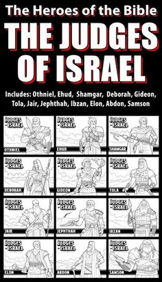 The Judges of the Israel Bundle Pack: Great for your VBS, Sunday School or Homeschool activities.This bundle includes the Judges of Israel as listed in the Book Sunday School Activities, Bible Activities, Sunday School Lessons, Bible Study Notebook, Bible Study Tools, Judges Of Israel, Bible Object Lessons, Understanding The Bible, Bible Teachings
