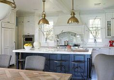 santa barbara kitchen  pendent lights - brushed gold mixed metals?