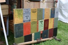 headboard made with old book covers