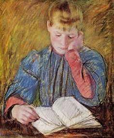 Young Girl Reading, (painting).  Creator: Cassatt, Mary, 1844-1926, painter
