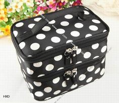 Double-Deck Makeup Cosmetic Dot Bag Travel Portable Toiletry Beauty Cases #eozy