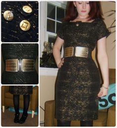 Craft, Thrift, or Die: Refashion: Black and Gold Dress Fix, vintage, thrift store fashion