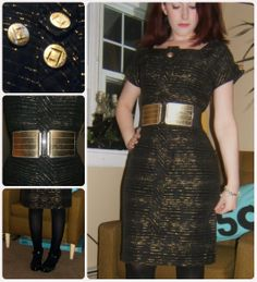 Craft, Thrift, or Die: Refashion: Black and Gold Dress Fix, vintage, thrift store fashion