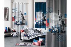Rideau à oeillets sur le thème USA Design Moderne, Good Company, Stores, Curtains, Decoration, Prints, Home Decor, York, American
