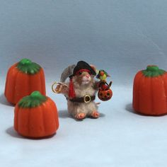 Minitiature little handmade polymer clay furred mouse OOAK in pirate costume with pirate hat, pumpkin candy basket, pirate sword, and parrot. Pirate Sword, Pirate Hats, Polymer Clay Animals, Halloween Trick Or Treat, Handmade Polymer Clay, Dollhouse Miniatures, Parrot, Pirates, Halloween Decorations