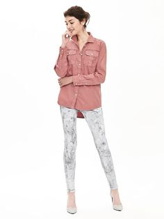 This rose twill military button down shirt is a great way to add subtle color to your winter street style   Banana Republic