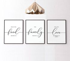 Bless the food before us Set of 3 printable Dining Room Decor Kitchen wall art Housewarming gift Home decor Kitchen Decor