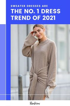 Yes, the comfy, cozy sweater dress is shaping up to be the number one dress trend of spring 2021. Here are 20 fabulous options to add to cart ASAP. #sweater #dresses #trend Sweater Dresses, Knit Dress, Wrap Sweater, Long Sleeve Sweater, October Outfits, Color Trends, What To Wear, Knitwear, Autumn Fashion