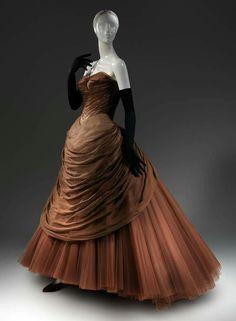 """1954, America """"Swan"""" evening dress by Charles James Silk, synthetic, metal MET Museum"""