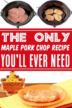 Crockpot Pork Chops Easy Recipes - Maple Brown Sugar Pork Chop! This easy 6 ingredient Crockpot Maple Brown Sugar Pork Chops Recipe serves up pure pork chop heaven! Go grab the recipe and give it a try this week! Easy Pork Chop Recipes, Easy Potato Recipes, Pork Recipes, Slow Cooker Recipes, Easy Dinner Recipes, Fall Recipes, Dinner Ideas, Slow Cooker Creamed Corn, Creamed Corn Recipes