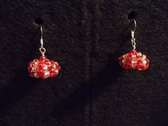 "07242012-""Red Candy"" earrings. I tried to make them look like peppermint type candy."