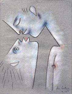 """""""Baiser"""" (1956), Jean Cocteau. Veja também: http://semioticas1.blogspot.com.br/2013/04/aventuras-da-percepcao.html"""