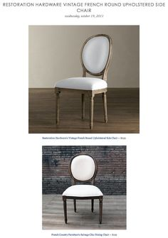 RESTORATION HARDWARE VINTAGE FRENCH ROUND UPHOLSTERED SIDE CHAIR vs FRENCH COUNTRY FURNITURE'S SALVAGED CHIC DINING CHAIR