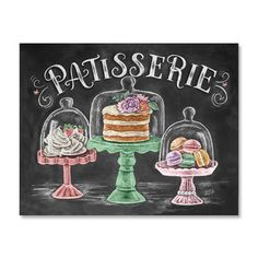 Transform your kitchen into a bakery en Provence! Light, fluffy pastries and tiered, decadent delights will lure any visitor into your new French kitchen space. ♥ Our fine art chalkboard prints will b