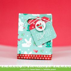 Lawn Fawn - Snow Day Collection + Flair, Goodie Bag Lawn Cuts die, Tag You're It, Silver Sparkle Lawn Trimmings _ gift bag by Latisha for Lawn Fawn Design Team