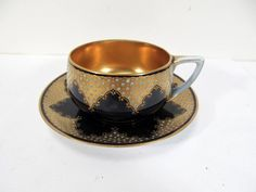Antique Rosenthal Cobalt Gold Enamel Dot Paste Cup and Saucer