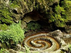 It is one of the greatest mysteries of the Isle of Avalon that two different healing springs, one touched red with iron, the other white with calcite, should rise within a few feet of each other from the caverns beneath Glastonbury Tor. Both have healing in their flow, and the one depicted is called the Glastonbury White Spring.