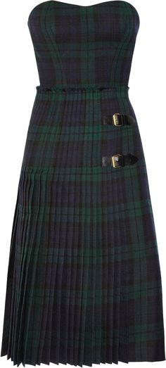 McQ Alexander McQueen tartan bustier dress