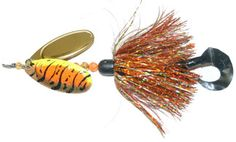 "Musky Safari Tackle French Hypnotizer This little beauty churns and burns with the best of them. Double french #8 blades, flashabou skirt, single treble hook with grub tail. Perfect all day bait!  8"", 2.3 oz"