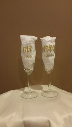 Personalized Mr Mrs Champagne Gles Wedding Flute Gift Rustic