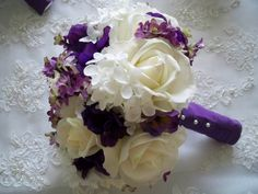 Silk Flower Bridal Bouquet with Realtouch Roses and Purple Silk Anemone. $145.00, via Etsy.