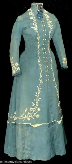 1870s late blue silk house dress, sold by Time Traveler's Antiques.
