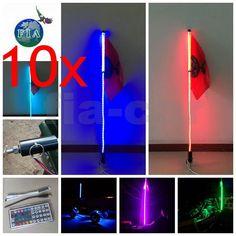 Blue color 2Pcs 6 Feet Quick Release ATV UTV LED Light Whip with Flag