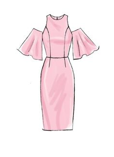 Eyebrow Shaping Discover Misses/Miss Petite Dresses with Mix-and-Match Shoulder Sleeve and Skirt Variations - McCalls Sewing Pattern Dress Design Drawing, Dress Design Sketches, Fashion Design Sketchbook, Fashion Illustration Sketches, Fashion Design Drawings, Dress Drawing, Fashion Sketches, Drawings Of Clothes, Drawings Of Dresses