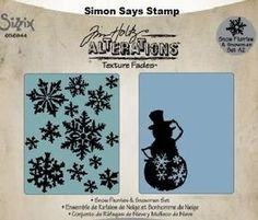 Tim Holtz Sizzix SNOW FLURRIES & SNOWMAN Texture Fades Embossing Folders 656944 Preview Image