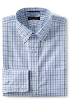 Men's Pattern  No Iron Supima Pinpoint Buttondown Collar from Lands' End
