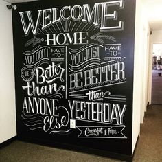 I kinda want a big chalk wall like this. Blackboard Art, Chalkboard Lettering, Chalkboard Designs, Typography Letters, Chalkboard Paint, Chalk Fonts, Chalkboard Typography, Chalkboard Drawings, Chalkboard Ideas
