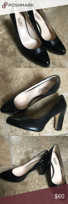 Franco Sarto Black Block Heel Patent Leather Toe Beautiful lightly used shoes. Only worn twice - both times with hose - but once involved walking so the bottom has a few imperfections which are pictured. I wanted these to work so badly but they're just the wrong size. They're beautiful with a shiny patent leather toe and heel, matte on the rest. Inside has a mark where a heel cushion sticker had been placed and removed.  Smoke free home. Reasonable offers considered. Franco Sarto Shoes Heels
