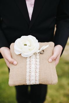 An uber-elegant wedding with just a touch of rustic whimsy ;) Burlap & Lace Ring Pillow ~ Photography by joshelliottstudio...
