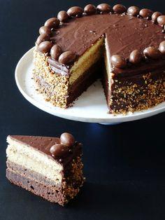 Ombre-laagjestaart met chocolade en karamel - Junnekes recepten