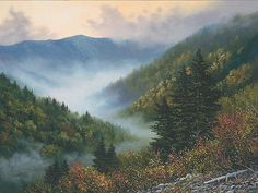 "Painting of the Smoky Mountains. It's called ""Ancient Hills"". This is what I grew up seeing and thankfully can still see it anytime."