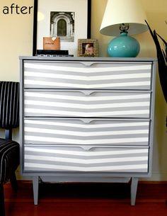 Gray dresser + turquoise lamp