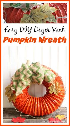 Looking for an easy and inexpensive fall DIY decoration? Try making this easy DIY dryer vent pumpkin wreath and get your home ready for fall! Looking for an easy Easy Fall Crafts, Fall Crafts For Kids, Fall Diy, Thanksgiving Crafts, Holiday Crafts, Kids Diy, Thanksgiving Celebration, Kids Crafts, Pumpkin Wreath