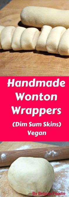 Handmade Wonton Wrappers are easy and fun to make by hand. Instead of buying store-bought Wonton Wrappers, try making your own and taste the difference. Steamed Dumplings, Homemade Dumplings, Wonton Recipes, Wanton Wrapper Recipes, Dim Sum Wrapper Recipe, Vegan Wonton Recipe, Gyoza Wrapper Recipe, Wan Tan, Good Food