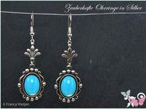 Jugendstil Ohrhänger lang Silber aqua opal blau