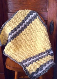 Yellow Grey White Crochet Baby Blanket Stroller by HookMadness